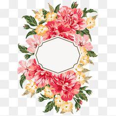 Hand painted watercolor flower borders