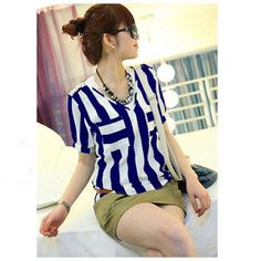 $6.18 Classic V-Neck Double Color Stripes Royal Blue Sleeves Thicken Chiffon Shirt For Women
