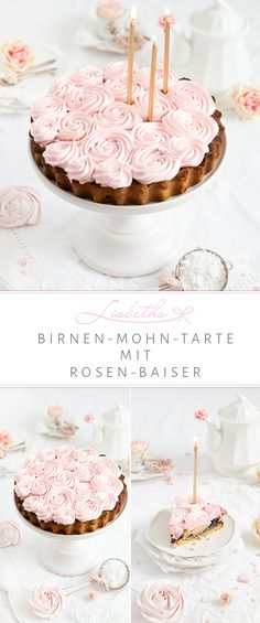Darf ich bitten, die Kaffeetafel ist gedeckt und es gibt eine köstliche Birnen-Mohn-Tarte mit entzückenden Rosen Baiser. Ein ganz wunderbarer und herbstlicher Kuchen, ob nun mit oder ohne rosa Baiser. Da darf jeder für sich entscheiden, ob er sich den zuckersüßen Gelüsten hingeben möchte, oder nicht. Im Hause Lisbeths ist es natürlich keine Frage, sondern eher ein Bedürfnis meinen Kuchen immer etwas Rosè einzuhauchen.