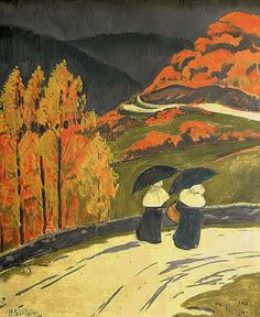 Paul Serusier  Rainy Walk to the Train  1893. Painting: oil... | Learn more at ArtofDarkness.co