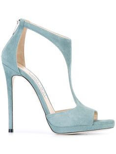 Verdigo light blue chamois leather 'Lana sandals from Jimmy Choo featuring an open toe, cut out details, a rear zip fastening, a leather insole, a brand e… Hot Shoes, Crazy Shoes, Me Too Shoes, Stiletto Shoes, Shoes Heels, Pumps, Blue Stilettos, High Heels, Pretty Shoes