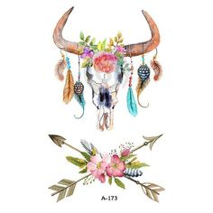 Wyuen Hot Designs Deer Temporary Tattoo For Women Tattoo Body Art Waterproof Hand Fake Tatoo Sticker Elk Animal Deer Skull Tattoos, Boho Tattoos, Deer Skulls, Cow Skull, Fake Tattoos, Animal Tattoos, Body Art Tattoos, Girls With Sleeve Tattoos, Tattoos For Guys