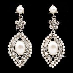 Bridal Wedding Crystal Rhinestone Pearl Elegant Dangle Earrings Silver Ivory