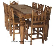 rustic western star kitchen | Rectangle Rustic Dining Table with Marble Inlay Real Wood Free ...