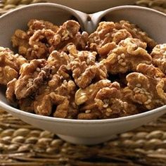 Maple Candied Walnuts Trying this recipe with the giant bag of walnuts my mother in law gave us.