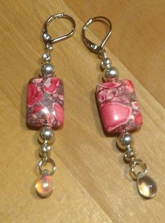 Hot Pink Natural Stone Drop Earrings Crystal Sterling Silver Leverback Earrings by RideTheWindDesigns on Etsy