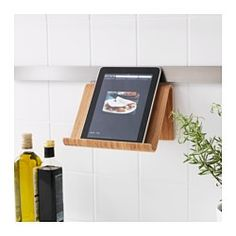 IKEA - RIMFORSA, Tablet stand, You can choose to put the stand on your countertop, or to hang it on the wall for more space when cooking. The stand is stable enough for both books and tablets. Made from a durable material to endure everyday use.