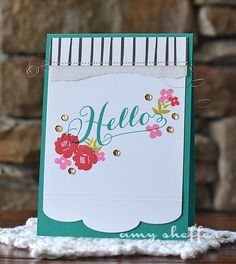 Hello Card by Amy Sheffer for Papertrey Ink (April 2015)
