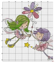 Hadas cross stitch little fairy crazy Cross Stitch Fairy, Cross Stitch Angels, Cross Stitch For Kids, Mini Cross Stitch, Cross Stitch Cards, Cross Stitching, Cross Stitch Embroidery, Embroidery Patterns, Hand Embroidery