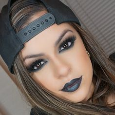 Gorgeous meets gothic describes these smouldering jet black smokey eyes and edgy pitch black lips combo. Duplicate this look with these products and how-to.
