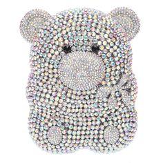 Fawziya Bear Shape Cute Purses For Womens Evening Bag Hard Case-AB Silver