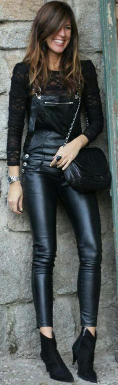 Black leather overalls