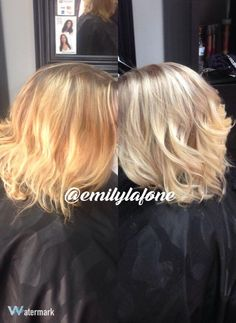 Before and after color correction brassy orange into ash blonde balayage. Located in Hickory, NC. Call or txt 980-429-3672 to book an appt.