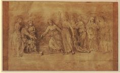 The Calumny of Apelles, after Andrea Mantegna; a king seated on a throne at l, flanked by two female figures, a man with long ears facing him and urging on a woman holding a torch and dragging a child by the hair, two figures at far r holding council. 1652-4 Pen and brown ink, with brown wash, on grey-brown prepared paper Verso: A plan of fortifications; with cannons in position and various buildings within. c.1620 Pen and brown ink, with watercolour, on light grey-brown prepared paper
