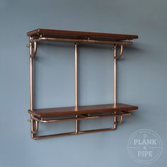Copper Pipe Shelving unit in an Industrial / Urban / Vintage style. 2 Tier Hand Crafted Shelves with African Sapele Hardwood. 15mm Copper Pipe, Brass Pipe, Copper Pipes, Craft Shelves, Wood Shelves, Copper Pipe Shelves, Pipe Shelving, Handmade Shelving, Interior Design