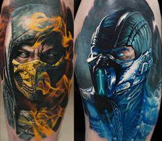 Scorpion and Sub Zero Mortal Kombat tattoos Tattoos Masculinas, Kunst Tattoos, Love Tattoos, Body Art Tattoos, Tattoos For Guys, Nerd Tattoos, Anchor Tattoos, Feather Tattoos, Mortal Kombat Tattoo