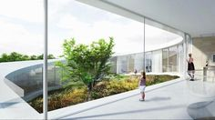 Inside view from corridor. Villa Gug by BIG. Image © BIG-Bjarke Ingels Group. Click above to see larger image.