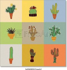 succulent plants and cactuses - Paper Print - Art Print from FreeArt.com