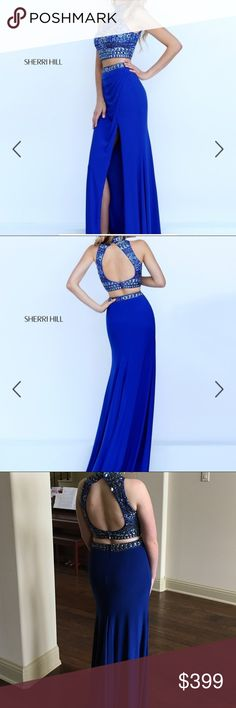 Sherri Hill Blue Formal dress Blue 2-piece Sherri Hill formal dress with beaded top. Perfect condition, only worn once! #50278 Dresses Prom