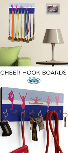 Looking for a way to show off all of your cheer hardware? How about just a place to keep all of your belongings organized. Our cheer hook boards are your solution!