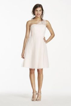 9c574434032 Short One Shoulder Tulle Bridesmaid Dress Style F15208