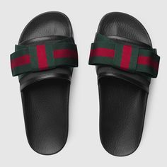 0a17303db209 Shop the Satin slide with Web bow by Gucci. The slide sandal features a  wide satin strap with oversize Web bow. First developed by Gucci in the the  Web ...