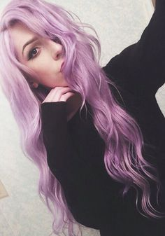 long wavy purple hair