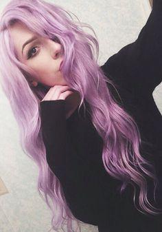 long wavy purple hair