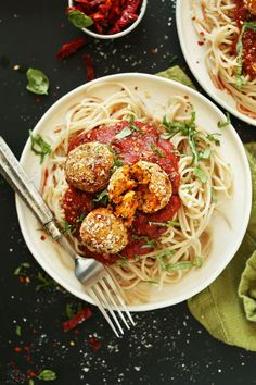 INCREDIBLE, EASY Vegan Chickpea Meatballs infused with Sun-dried Tomatoes and Basil! The perfect weeknight or special occasion #plantbased meal! #vegan #recipe #pasta #dinner #healthy