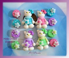 Dress up Kitty Polymer Clay Scapbooking Charm by rainbowdayhappy, $15.50
