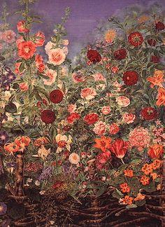 """Катерина Білокур """"Квіти за тином"""", 1935"""