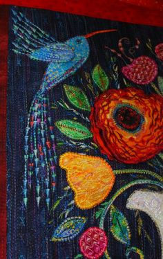 From Patchwork & Craft in Portugal ---- Bird is embroidered with decorative machine applique!