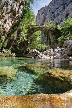 """*SPAIN~The Cares river route runs into the Picos de Europa National Park, in Spain, and is one of the most breathtaking trekking trails that can be done in Europe. The Cares route is called """"The Divine Gorge""""."""