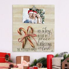 A Personal Creations Exclusive! Sweeten your holiday celebration with this delightful artwork, featuring genuine refurbished wood pallet pieces and a photo bursting with love.