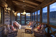 Rustic screened-in porch by Axial Arts Architecture - Rustic Club Chairs #1006 by La Lune Collection