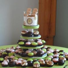 Beach themed #wedding cake with cupcakes too! Cakes by Cake & All Things Yummy in Kernersville, NC