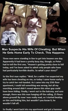 MAN SUSPECTS HIS WIFE OF CHEATING. BUT WHEN HE GETS HOME EARLY TO CHECK, THIS HAPPENS. -