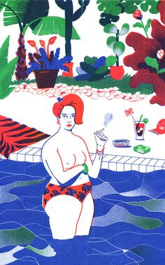 "Elodie Lascar's illustrations are inspired by ""confident, beautiful women half-naked on the beach"" - @itsnicethat"