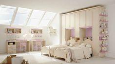 chambre à coucher pour deux princesses en rose et blanc