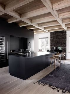 kitchen inspiration (French By Design) These 2 black kitchens just make me heart sing. I love the first one, that modernises a barn.These 2 black kitchens just make me heart sing. I love the first one, that modernises a barn. Modern Kitchen Design, Interior Design Kitchen, Modern Interior Design, Interior Architecture, Kitchen Designs, Luxury Interior, Kitchen Ideas, Room Interior, Bar Interior