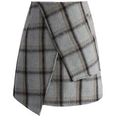 Chicwish Plaid Check Bud Skirt in Grey ($42) ❤ liked on Polyvore featuring skirts, grey, asymmetrical skirt, grey skirt, plaid skirt, checkerboard skirt and sexy plaid skirt