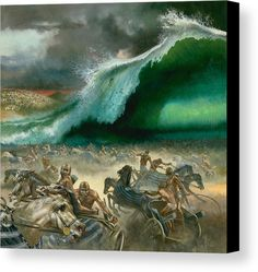 Christendom as a whole has refused to acknowledge Jehovah as the true God, replacing Him with a Trinitarian god, and removing his name from holy writ. Christendom will pay a heavy price. Bible Illustrations, Illustration Art, Crossing The Red Sea, Moise, Bible Pictures, Prophetic Art, Biblical Art, Sea Art, Canvas Prints