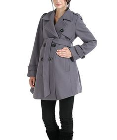 Take a look at this MOMO Gray Isabella Wool-Blend Maternity Trench Coat by MOMO Maternity on #zulily today!