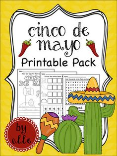 Cinco de Mayo Math and Literacy Printable Pack | by Elementary Elle | $2.50