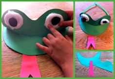 Teach Junkie: 25 Easy Frog and Toad Ideas and Activities - Frog Craft Visor Hat
