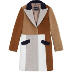 Cappotto patchwork di lana ❤ liked on Polyvore featuring outerwear, coats, colorful coat and white coat