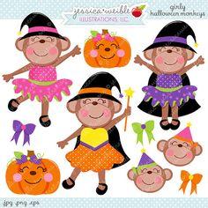 Girly Halloween Monkeys Cute Digital Clipart - Commercial Use OK - Halloween Graphics, Halloween Clipart, Witch Graphics, Witch Monkey