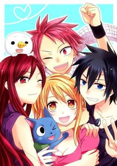 Natsu, Gray, Lucy and Erza phone wallpaper. ~Fairy Tail