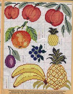 ananas banane e mele a punto croce