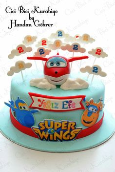 Super wings cake - My site Airplane Birthday Cakes, 3rd Birthday Cakes, Boy Birthday Parties, Planes Cake, Dora Cake, Cakes For Boys, Celebration Cakes, Party Cakes, First Birthdays